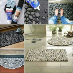 DIY shower/floor mat. All tou need is a grip pad, river rocks (size and color or your choice) and some PowerGrab glue or a hot glue gun. And tada!