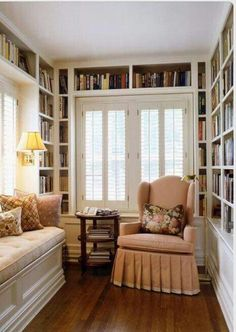 41 Trendy Home Library Corner Small Spaces Living Rooms Cozy Home Library, Library Corner, Library Ideas, Library Design, Book Design, Design Ideas, Corner Nook, Library Wall, Small Corner