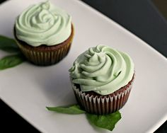 Chocolate Cupcakes with Basil Buttercream