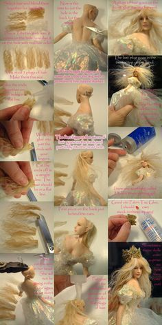 Patricia Rose - Wigging Tutorial with Wefts Not sure if I like this more than just doing hair out of clay. -J