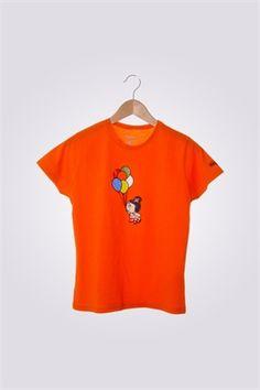 Camiseta de mujer ArriquiBalloon color naranja.