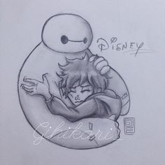 Follow this artist on instagram <3 https://instagram.com/gihikari_/ #Disney #Baymax #Hiro #Art #BigHero6 #Cute #Hug #Art #Drawing