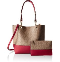 Calvin Klein Large Reversible Tote With Pouch Wallet Khaki And Red Ebay