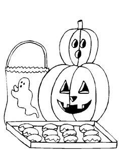 Des Citrouilles Et Un Fantome Donnant Sucreries Pendant Lhalloween Dessin A Colorier Food Coloring PagesHalloween PumpkinsCreationsFarms