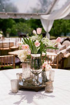 tulip + silver centerpiece   Olivia Griffin #wedding