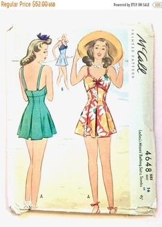 SALE 20% OFF McCall 4648 1940s Bathing Suit swimsuit 40s Printed Pattern swim wear Vintage Sewing Pattern Bust 34