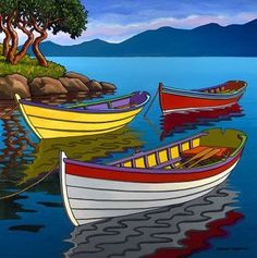 Contemporary Landscape Art of Canadian BC Hornby Island Artist Graham Herbert; Landscape Art, Landscape Paintings, Landscapes, Boat Art, Naive Art, Whimsical Art, Indian Art, Art Pictures, Watercolor Paintings