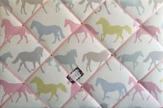 Large 60x40cm Clarke & Clarke Stampede Sorbet Horse / Horses Hand Crafted Fabric Notice / Memory / Pin / Memo Board