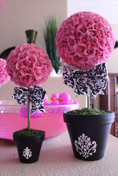 Baby shower topiaries, pink and black & white damask decor, baby girl shower, baby shower ideas