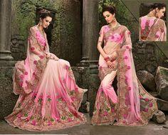 latest bridal Saree indian Bollywood Designer wedding Lehnga pink CZ Stone sari…