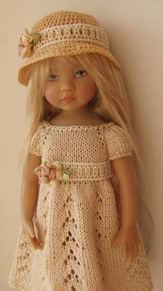 Hand Knit Doll Outfit Set for 13'' BJD, Helen Kish, Diana Effner