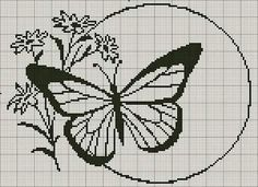 Gallery of cross stitch patterns that could also be used for Swiss Darning on plain knitted fabric. Butterfly Cross Stitch, Cross Stitch Bird, Cross Stitch Animals, Cross Stitch Flowers, Cross Stitch Charts, Cross Stitch Designs, Cross Stitching, Cross Stitch Embroidery, Embroidery Patterns