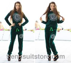 Article V00010 #velour #tracksuit Order of this product only by wholesale catalog at our website. Stylish womens velour rhinestone dark green sweatsuit.