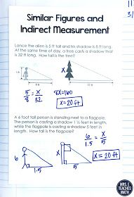 Similar Figures Word Problems Practice for Geometry INB