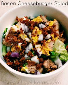 Bacon Cheeseburger Salad - basically it's a bacon cheeseburger in a bowl without the bun. - via SugarFreeLikeMe