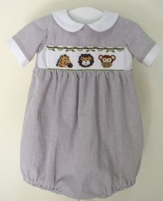 "smocked bubble, Cross-Eyed Cricket's ""Jungle Friends"" smocking plate (they have lots of cute designs)"