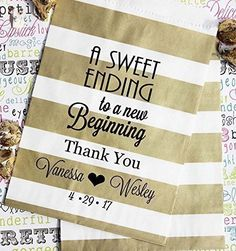 Personalized Wedding Favor Bags, A Sweet Ending to a New Beginning, Custom Printed Candy Favor Bags, Set of 24 Bags with 24 FREE Stickers - Wedding favors (*Amazon Partner-Link)