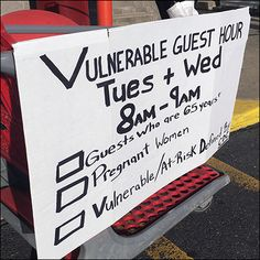 A boldly hand-lettered CoronaVirus Vulnerable Guest Hour notice advises less-able patrons that special shopping time is available for their use Cedar Crest, Store Fixtures, Cold Remedies, Vulnerability, Hand Lettering, Chalkboard, Encouragement, Target, Boards