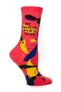 Cute, colorful and extremely comfortable and soft combed cotton socks. Women's shoe size 5-10. Wine Salad Socks by Blue Q. Accessories - Socks Virginia