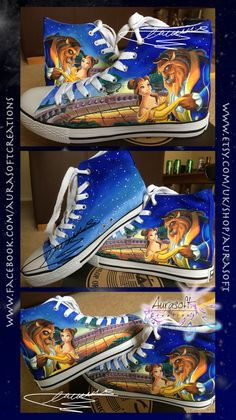 Custom Painted Hi Top Beauty and the Beast Disney by Aurasoft