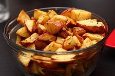 Herb Roasted Red Potatoes I made these to eat with our pot roast on Sunday. They are way good! What you need: 8-9 Red Potatoes Olive Oil Dried Rosemary Dried Thyme Salt and Pepper What you will do: Wash and cut potatoes into 1 inch pieces Preheat oven to 450 degrees. Place potatoes in a bowl and coat lightly in olive oil. Place 1 tbs dried rosemary and 1 tsp of thyme in bowl. Mix around Place potatoes on a baking sheet in a single layer, not allowing for much overlap. Bake for 20…