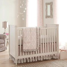 baby girl bedding pink and gray | Paris Script Crib Bedding | Pink and Gray Baby Girl Crib Bedding ...