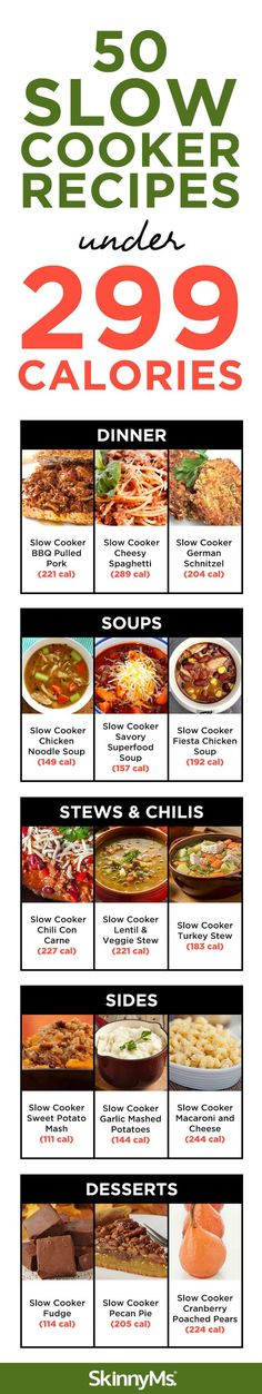 50 Slow Cooker Recipes Under 299 Calories - From healthy dinners, soups, stews & chilis to sides and scrumptious desserts, we have your favorite slow cooker meals