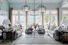 The living room layout is designed to draw your eye immediately to the jaw-dropping view outside the wall of windows. This space oozes natural light >> http://www.hgtv.com/design/hgtv-dream-home/2016/living-room-pictures-from-hgtv-dream-home-2016-pictures?soc=dh16pp