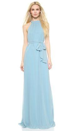 Pale blue dress for bridesmaids | Elena Collar Column Dress