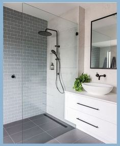 Bathroom a few ideas, master bathroom remodel, master bathroom decor and bathroom organization! Bathrooms can be beautiful too! From claw-foot tubs to shiny fixtures, these are the master bathroom that inspire me probably the most. White Subway Tile Bathroom, Grey Subway Tiles, Bathroom Grey, Lowes Bathroom, Bathroom Bath, Boho Bathroom, Bathroom Mirrors, Bathroom Cleaning, Modern Bathroom Design