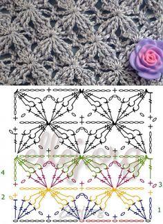 Узор Бархатные звезды | Crochet by Ellej | Вязание крючком от Елены Кожухарь