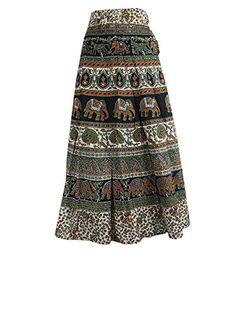 Wrap Skirt- Ivory Green Print Cotton Gypsy Wrap Around Skirt Dress, Gift Idea Mogul Interior http://www.amazon.com/dp/B00U7BOQZ2/ref=cm_sw_r_pi_dp_QfI9ub0QCGZ3P