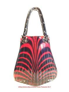 Red-Black-Striped-Glass-Art-Hand-Blown-Purse-Vase-Large