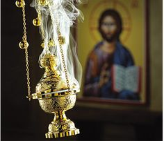 """Incense is an important part of Orthodox Christian worship. """"Let my prayer arise in Thy sight as incense. And let the lifting up of my hands be an evening sacrifice. Religion, Monastery Icons, Russian Orthodox, Orthodox Christianity, Orthodox Prayers, Catholic Prayers, Orthodox Icons, Anglo Saxon, Roman Catholic"""