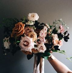 Moody, rose bouquet.