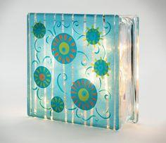Summer Sun Spot Glass Block - created using FolkArt enamel paints