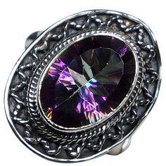 CZgem Labradorite Ring Oval Shape Blue Light 925 Sterling Silver US Size 8.5