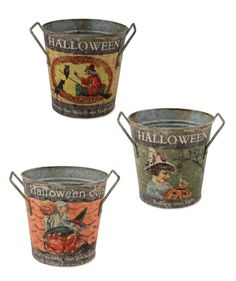 Halloween Tin Buckets with Vintage Halloween Images