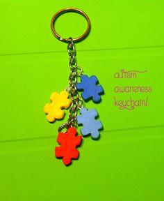 Autism Awareness Polymer Clay Keychain. $6.00, via Etsy.