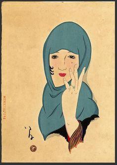 Girl in green head wrap. Producer namePrint artist: Takehisa Yumeji (竹久夢二) biography Production placeMade in: Japan term details(Asia,Japan) Materialspaper Technique Art Prints, Japanese Art, Japanese, Japanese Artists, Culture Art, Painting, Illustration Art, Art, Ukiyoe