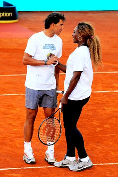 Rafael Nadal and Serena Williams playing in a charity match in Madrid, May 2014.