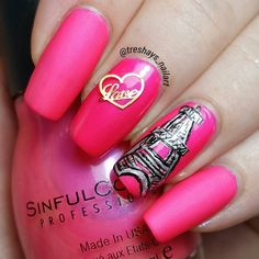 Oohlala! Look at that pink!  I absolutely love the way it looks with a matte top coat which I used on my index and pinky.  The art is supposed to be the eiffel tower ...can't win 'em all lol. This is Daredevil by Sinful Colors.  2 coats.  #sinfulcolors #daredevil #nailsnailsnails #paris #Parismani #nailswag #nailporn #nailgasm #nailheaven #nailartoohlala #nailartjunkie #nailart #nails2inspire #nailpromote #nailstagram #polishlicious #pinkpolish #mattenails #mattenailart #instanails by…