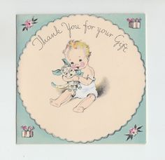 Vintage Baby Hugging Dog Toy Thank You Greeting Card ~ Unused