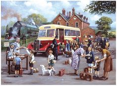 The EvacueesThe Evacuees - The EvacueesThe Evacuees - The Evacuees by Kevin Walsh Norman Rockwell, Railway Posters, Travel Posters, Bus Art, Nostalgic Art, Cartoon Art Styles, Puzzle Art, Children's Book Illustration, The Good Old Days