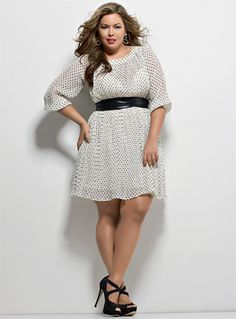 I want this! We can look good wearing polka dots! Big beautiful curvy real women, real sizes with curves, accept your body sizes, love yourself no guilt, plus size, body conscientiousness fashion, Fragyl Mari embraces you!