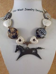 Cowgirl Necklace Set - Chunky White Buffalo Turquoise Hearts and Brown Fire Agate - Horse Pendant - pinned by pin4etsy.com