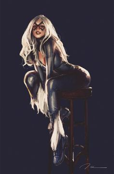 """Former cat burglar Felicia Hardy became a crime fighter when she became romantically attracted to and involved with Spider-Man. Felicia has the ability to instill """"bad luck"""" around others - this comes in handy when fighting crime! Black Cat Marvel, Spiderman Black Cat, Black Cat Comics, Black Cat Art, Marvel Dc, Marvel Women, Marvel Girls, Comics Girls, Marvel Heroes"""