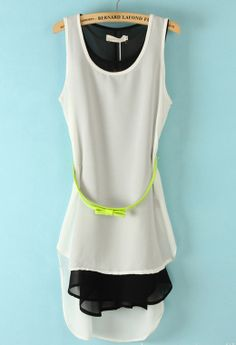 White Sleeveless Belt High Low Two Pieces Dress