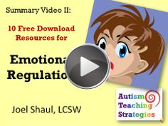 This video, the second in a series, describes 10 free social skills downloads. These are on emotional regulation.