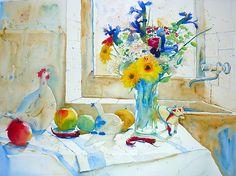 Bouquet aux Iris et poule blanche